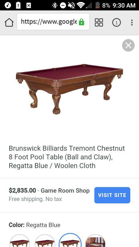 Brunswick TreMont Chestnut Ball Pool Table Like New Condition - Brunswick tremont pool table