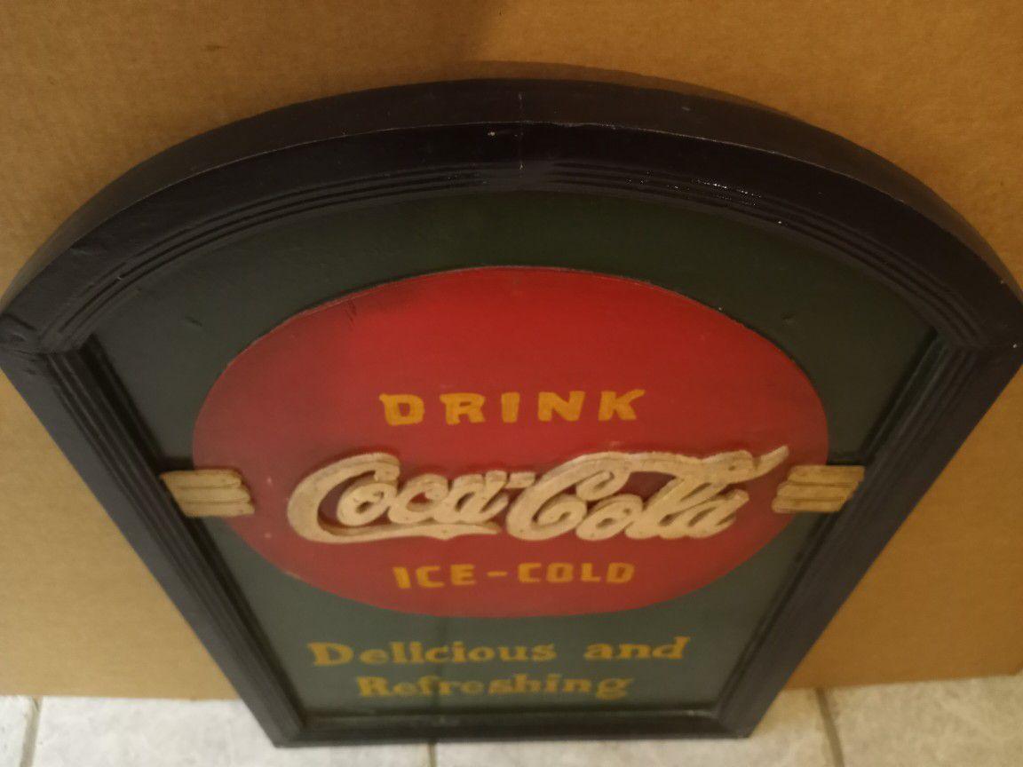 Unique Wooden Coca Cola Sign OBO