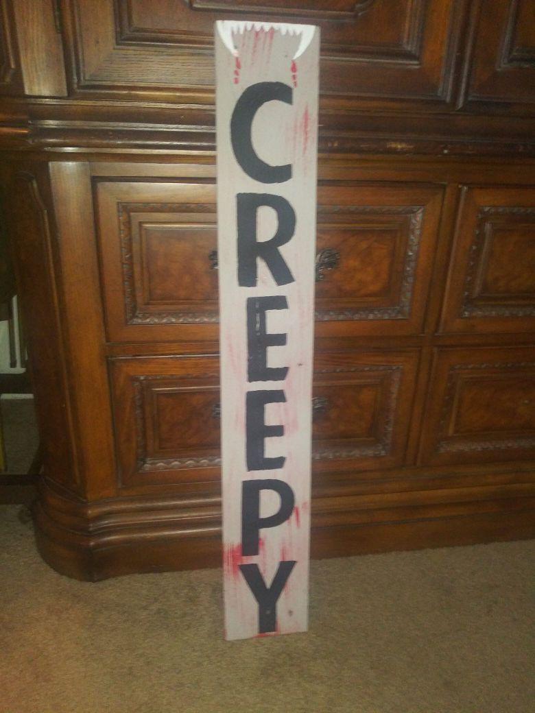 "3 ft tall ""Creepy"" Halloween sign"