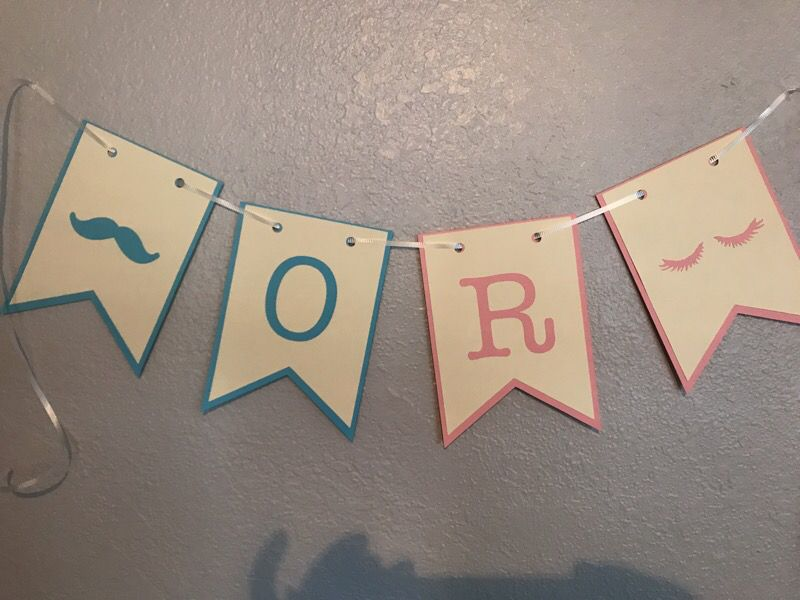 Gender reveal theme staches or lashes banner