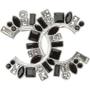 6a41b4861fd0 Chanel Silver CC Black Crystal Brooch + a gift of a chanel earring. Fremont  ...