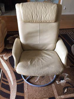 Ottoman leather swivel reclining IKEA chair Thumbnail