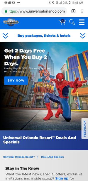Two universal studios tickets good until December 31st 100 each for Sale in Orlando, FL