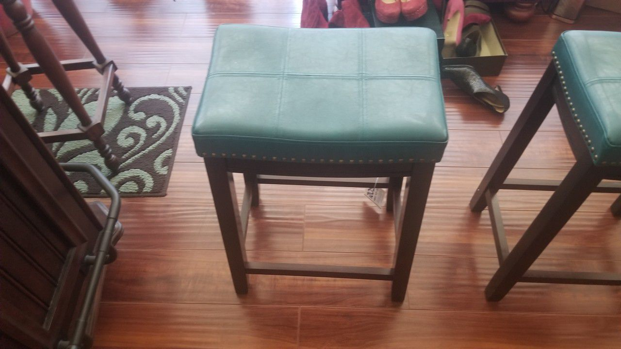 Leather Turquoise Stools with gold studs