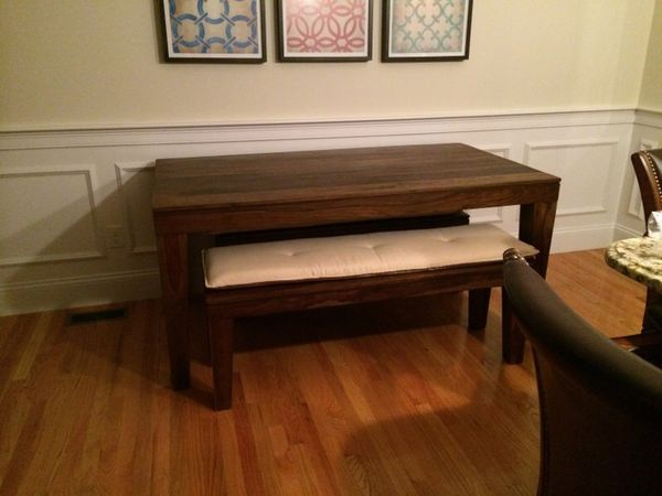 West Elm Carroll Farm Dining Table And Two Benches For In Quincy Ma Offerup