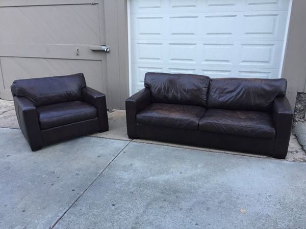 Awesome Crate And Barrel Axis Ii Leather Sofa And Chair Set For Sale Gmtry Best Dining Table And Chair Ideas Images Gmtryco