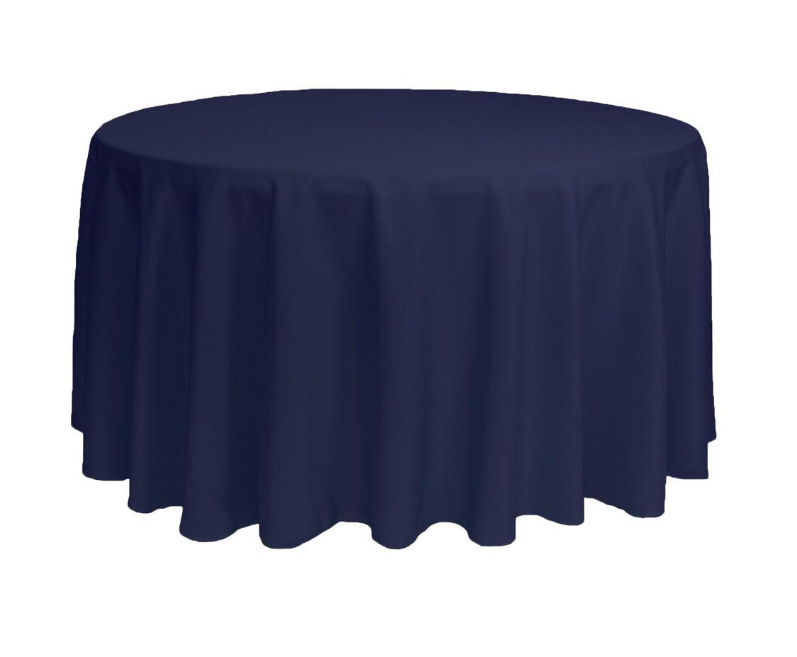 "120"" Round Navy Wedding Event Tablecloths 10"