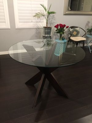 Simon Collection Espresso X Dining Table Base With Free Glass Table Top 42 For Sale In San Diego Ca Offerup