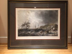 """""""Off Portland"""" etching by Charles Mottram (British, 1807 - 1876) after a painting by J.W. Carmichael."""" for Sale in Bethesda, MD"""