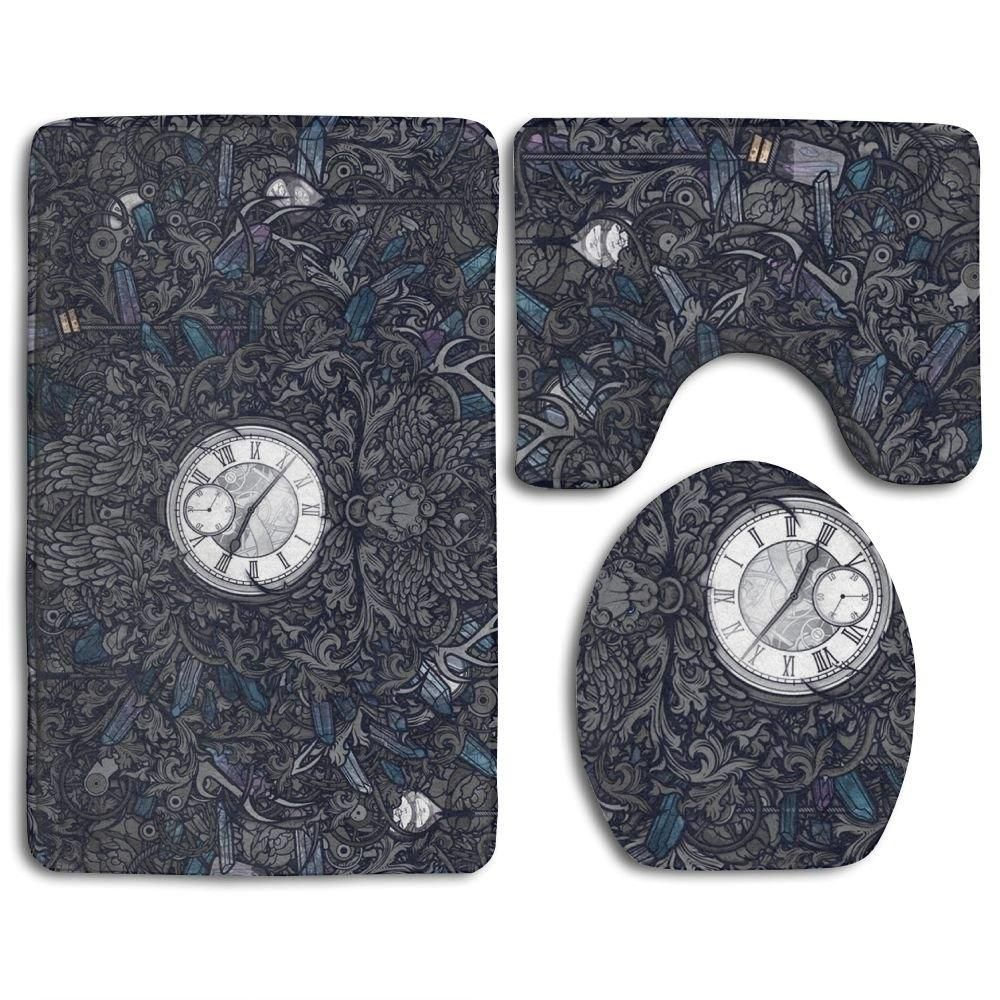 Clock 3 Piece Bathroom Rugs Set Bath Rug Contour Mat and Toilet Lid Cover