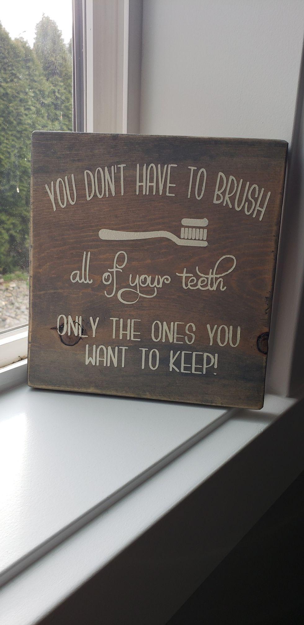 Bathroom sign - handmade
