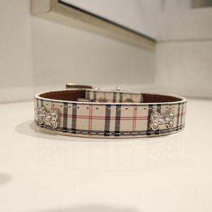 Beige Plaid Fashion Rhinestone Studded Pet Dog Collar M for Sale in Park Ridge, IL