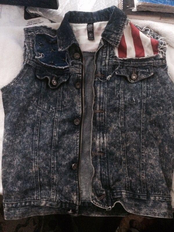 fef3355293d Custom Made American Flag Jean Vest for Sale in Newark