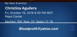 Christina Aguilera Tickets SEC 104 for Sale in Denver, CO