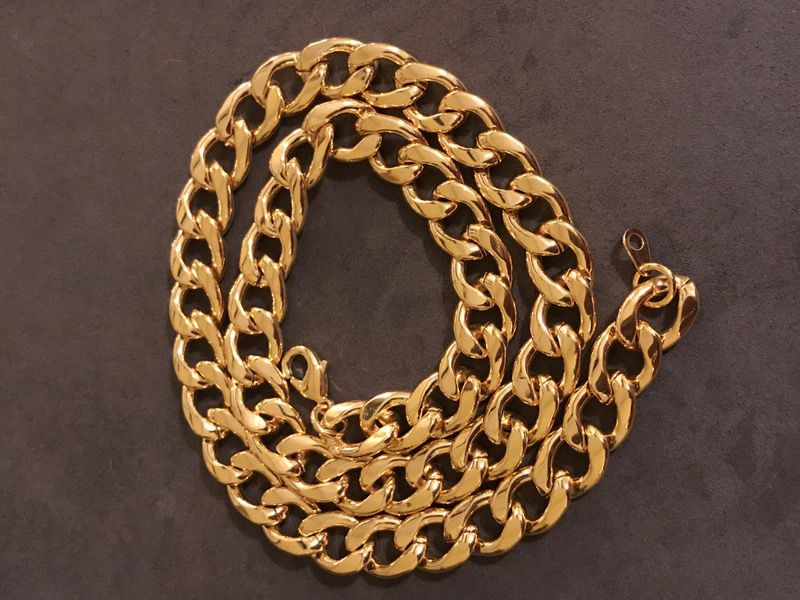 """NEW 22"""" 11mm 18k yellow gold and durable stainless steel chain, necklaces"""