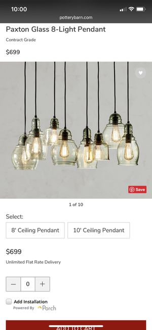 Photo New Pottery Barn Paxton 8-light chandelier pendant blown glass, for 8' ceilings