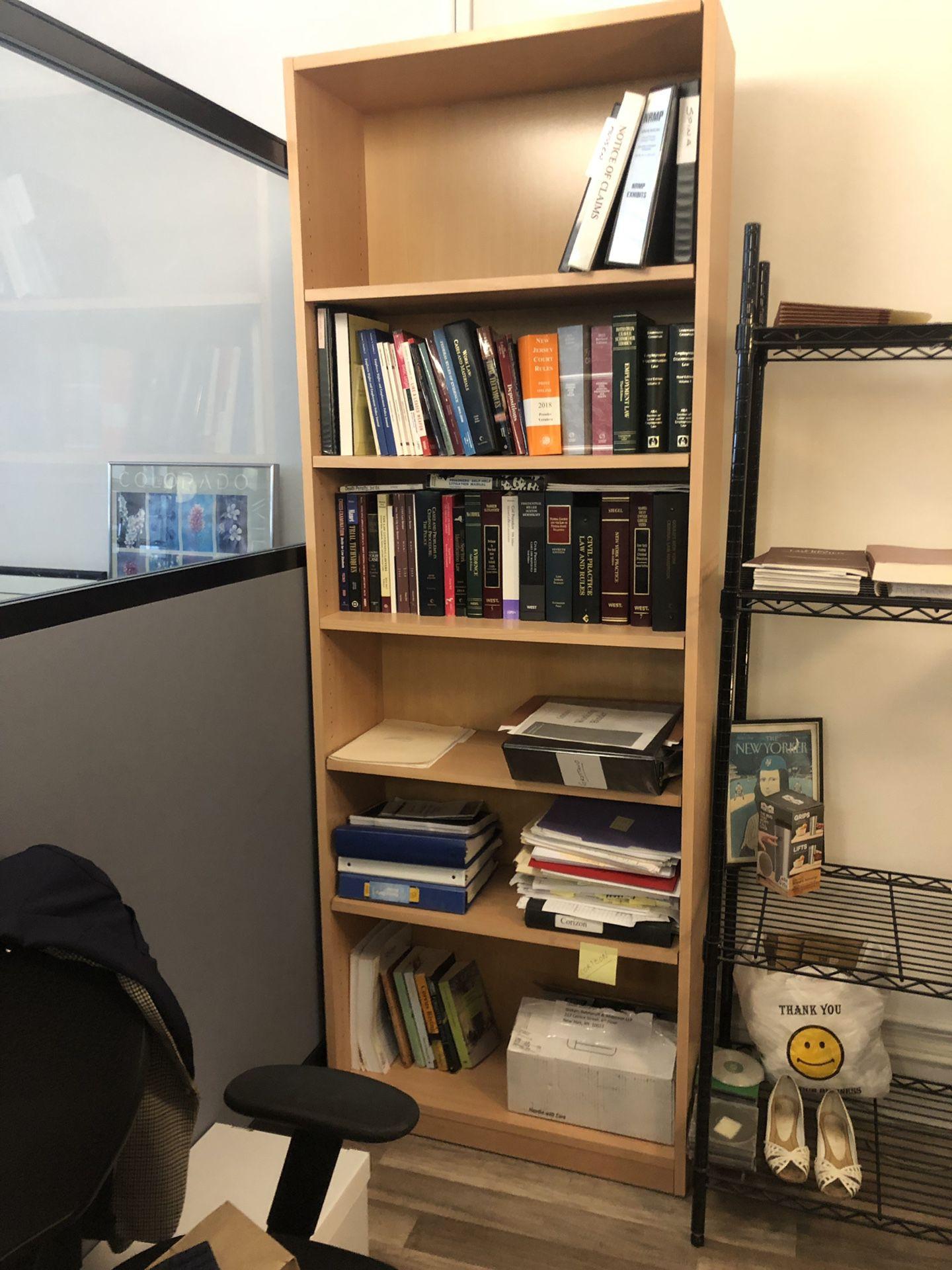 Light brown bookshelf
