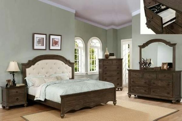 French Style Rustic Queen Upholstered Bed For Sale In