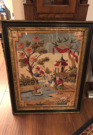 Antique French Chinoiserie Needlepoint/Embroidery 18th Century for Sale in Los Angeles, CA