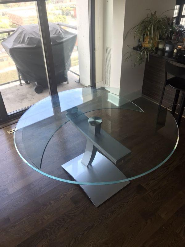 Roche Bobois Circular Gl Extendable Table Designer Furniture Chicago