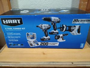 Photo Brand new in the box HART 20-Volt Cordless 4-Tool Combo Kit with 200-Piece Accessory Kit and 16-inch Storage Bag, (2) 1.5Ah Lithium-Ion Batteries