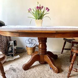 Solid Wood Dining Table With Leaf  Thumbnail