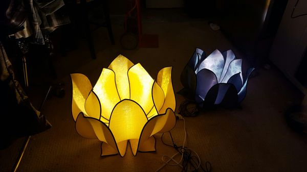 2 Asian Silk Lotus Flower Lamps For Sale In Half Moon Bay Ca Offerup