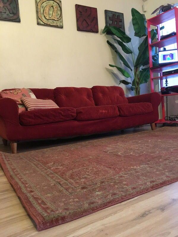 Modern Mid-Century Rustic Orange Couch