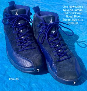 Photo Like New Men's Nike Air Jordan Retro 12 Deep Royal Blue Suede Size 11