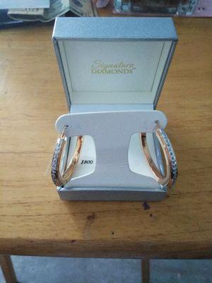 Hoop diamond studded earrings for Sale in Deltona, FL