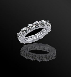 4.5CT(3.75 mm)intensely Radiant Diamond Veneer set in14K Solid gold All Around Classic Engagement/Wedding Eternity Band Ring. 635R103K for Sale in San Francisco, CA