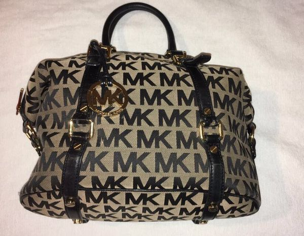 23574b0576cf Michael Kors Khaki Black Signature Medium MK Bedford Leather Satchel  Bowling Bag!
