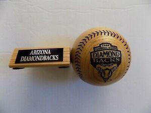 Photo Arizona Diamondbacks Wooden Baseball Engraved Ltd Ed Inaugural Season 1998. - Rare