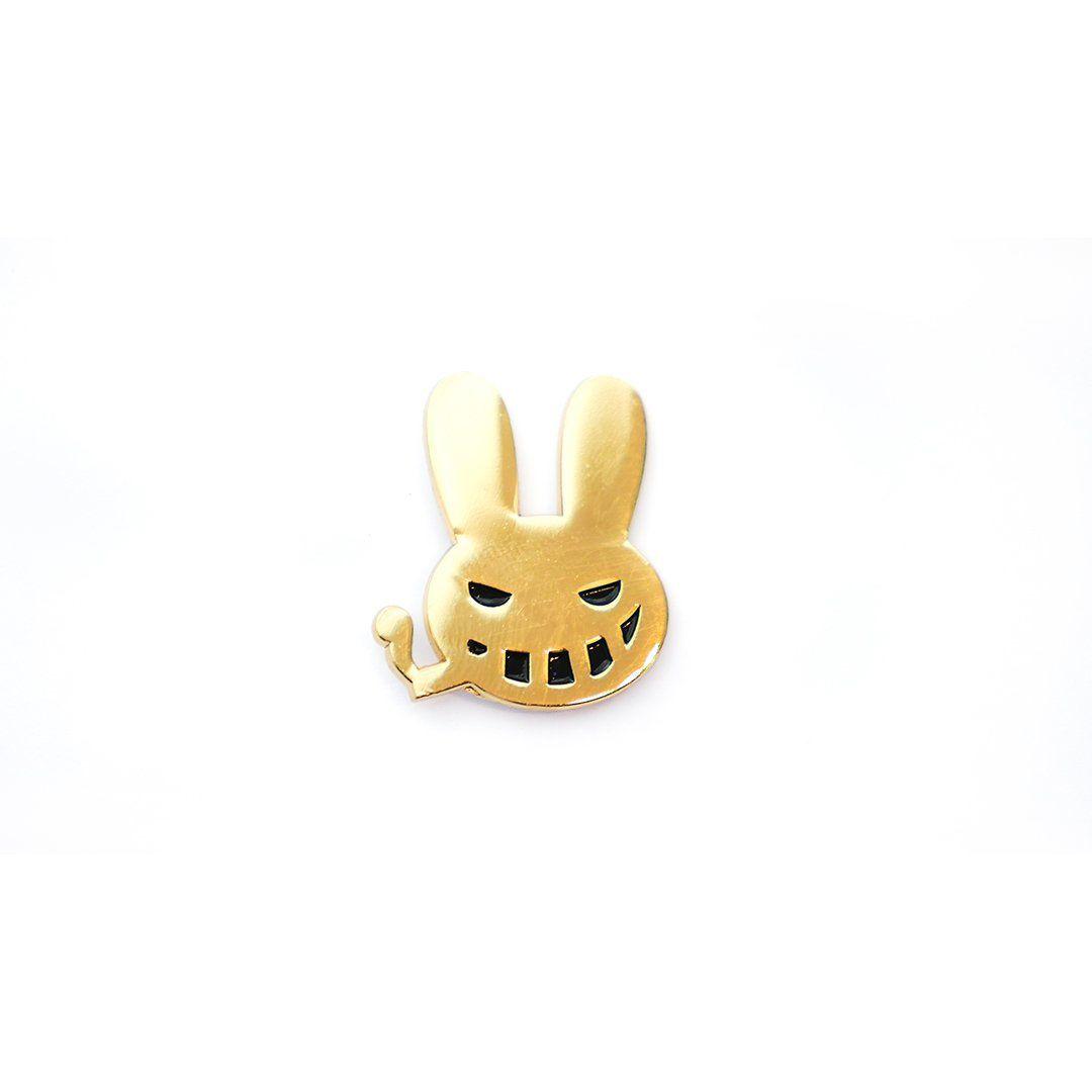 Moonrock Gold Smoking Bunny Pin by Dr. Zodiak