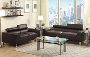 Brand new modern 2 pcs sofa and love seat in faux leather for Sale in Miramar, FL