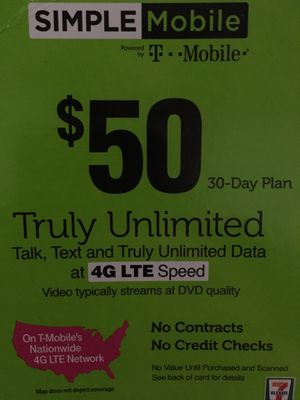 Simple Mobile Prepaid phone card unlimited talk, text, data for Sale in Baltimore, MD