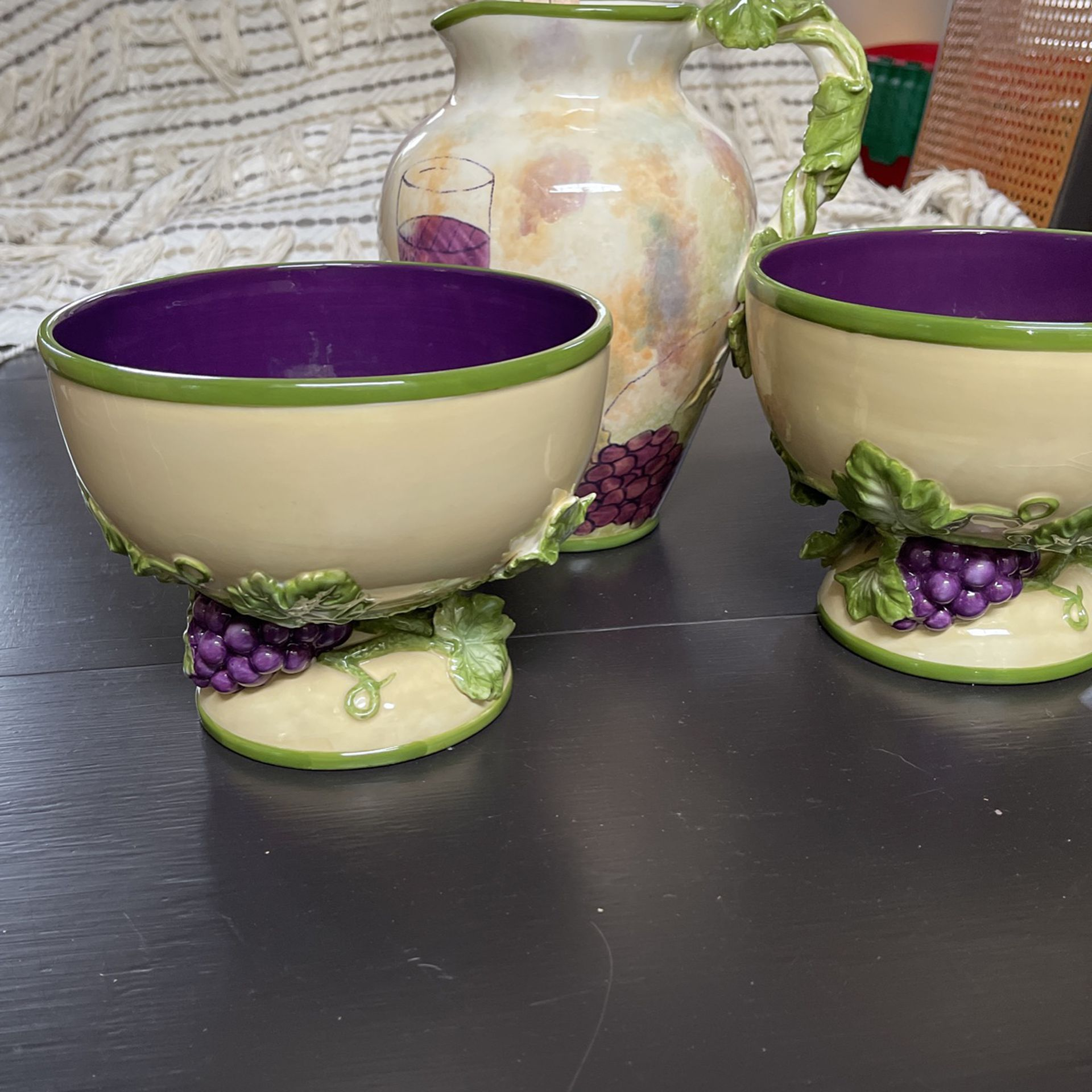 Salad Bowls and Water Pitcher