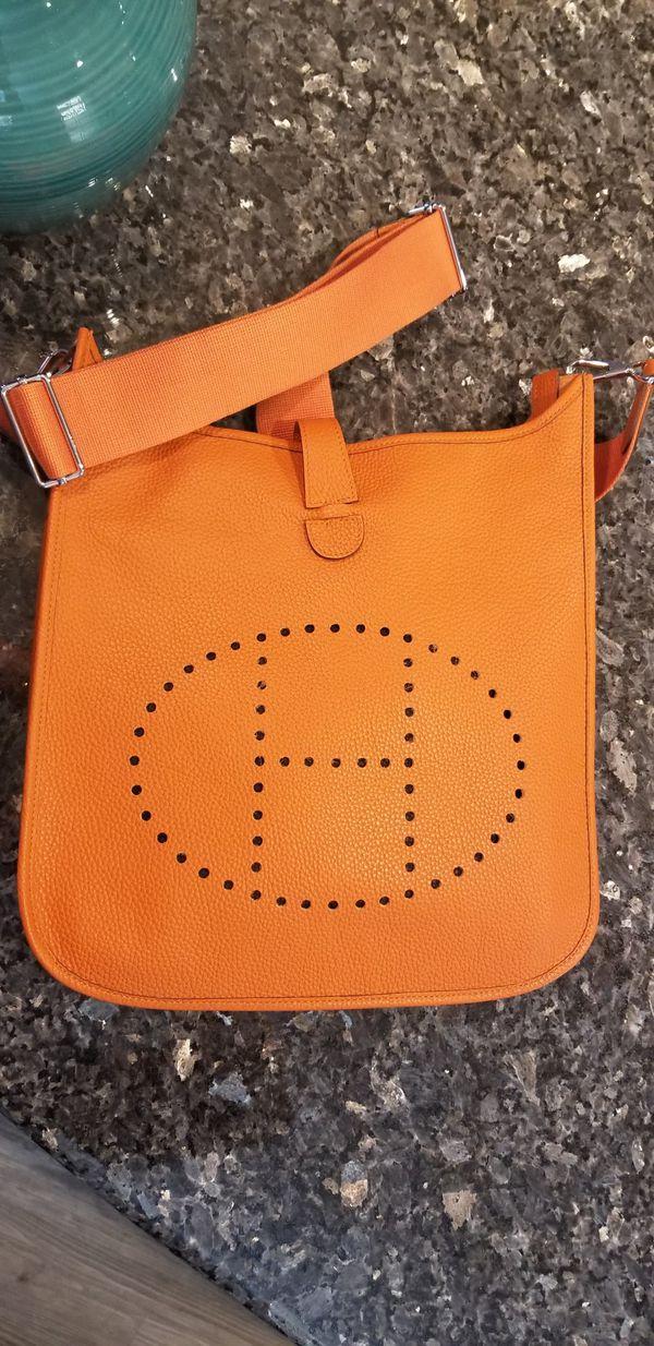 5de02028aa1 Evelyne II GM Clemence Orange Leather Crossbody Bag for Sale in San ...