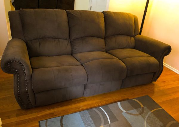 Raymour Flanigan Rexford Brown Microfiber Reclining Sofa