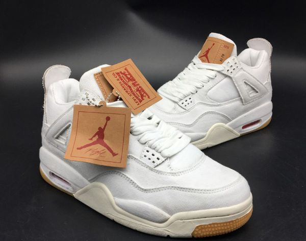 f9a34cf449c4a8 Levi s x Air Jordan 4 Retro GS  White Denim  (SHIPPING ONLY) for ...