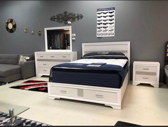 ^Ashley Queen bedroom set 4 piece storage) Thumbnail