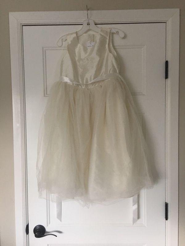 59d31aaa830 Flower girl cream chiffon wedding bridal dress ribbon NWT David s Bridal