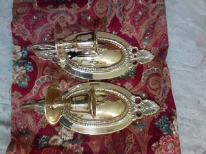 Photo Brass fully detail finish buffed an ready set of candle pure brass candle holders