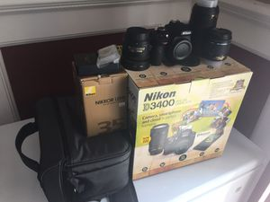 Nikon D3400 Camera with Extra Lenses for Sale in Rockville, MD