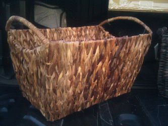 Pair of brand new wicker baskets with handles. Strong, durable for heavy weight Thumbnail