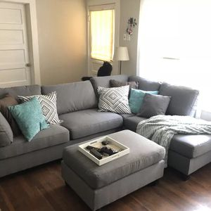 Grey sectional sofa with ottoman for Sale in Silver Spring, MD