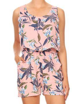 Floral Print Sleeveless Romper New w/o tags Women's Size S, M, L, XL Thumbnail