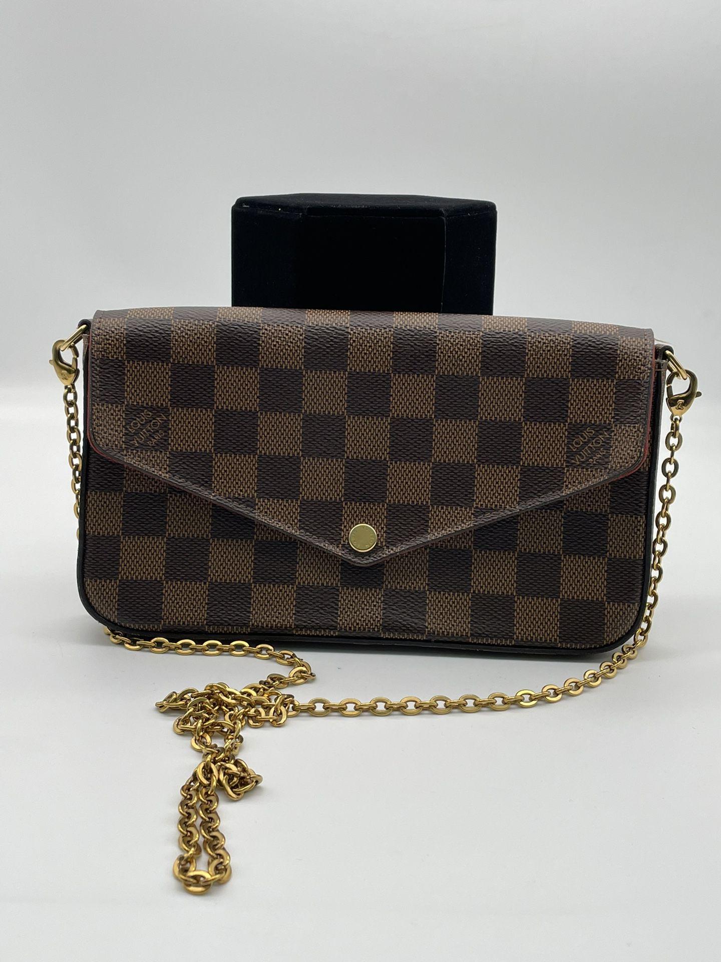 LOUIS VUITTON Monogram Pochette Felicie Chain Wallet Red