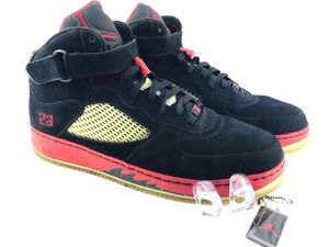 1ac2f564362e 2007 Mens 15 NIKE AIR JORDAN AJF 5 BLACK VARSITY RED WHITE 318608 062  Basketball for