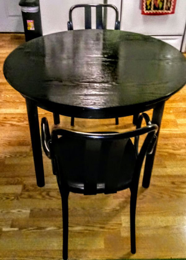 Black Lacquer Wood Kitchen Table With 2 Chairs For Sale In